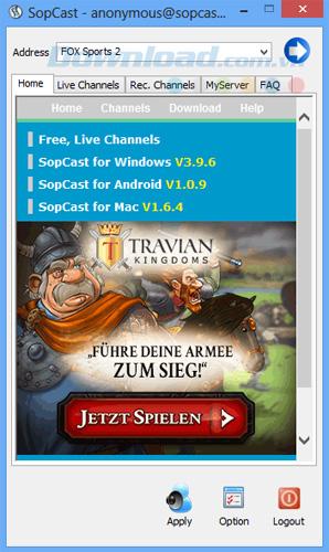 SopCast 4.2.0 Xem bóng đá trực tiếp, TV, K+ trực tuyến