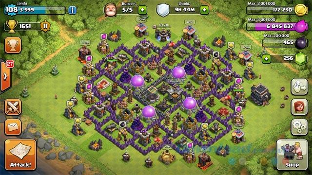 Nhà chính trong game Clash of Clans