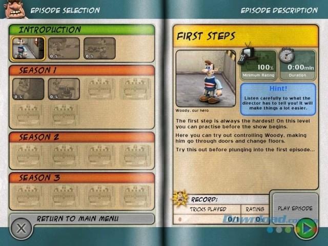 Giao diện chơi chính của game chiến thuật trí tuệ Neighbours from Hell cho máy tính