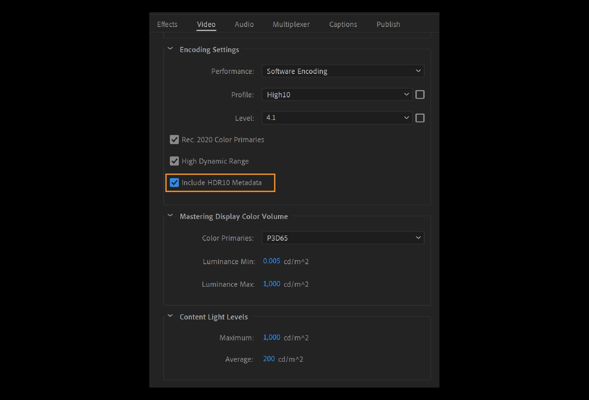 Adobe Premiere Pro 2021 hỗ trợ xuất HDR10 kèm metadata