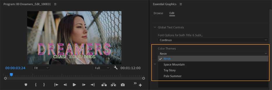 Tùy chọn thiết kế có sẵn trong Adobe Premiere Pro