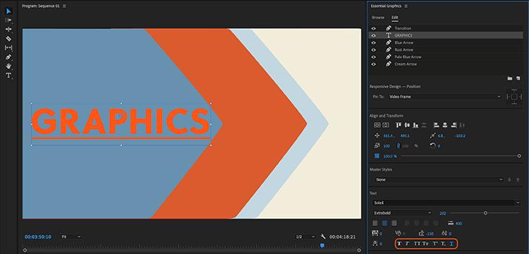 Tùy chọn gạch chân chữ ở Adobe Premiere Pro 2021