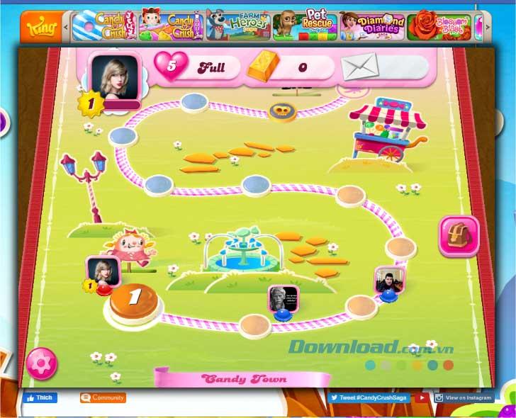 Hoàn thành mục tiêu ở mỗi cấp độ để lên cấp tiếp theo trong Candy Crush Saga Online