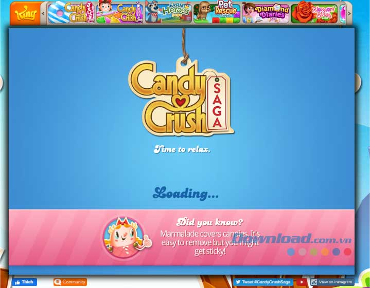 Nhấn nút Accept để vào game Candy Crush Saga Online