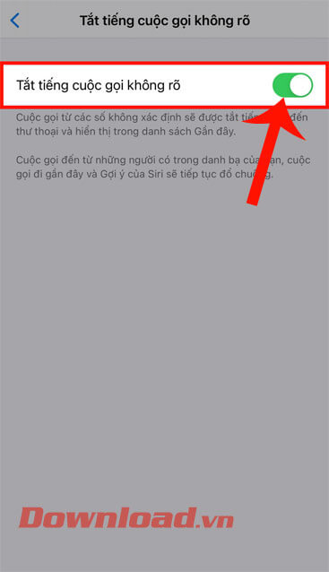 Toggle the switch at Mute unknown calls gọi