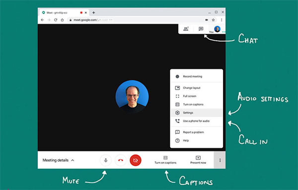 Kiểm tra hình ảnh và âm thanh trước khi bắt đầu video call với Meet