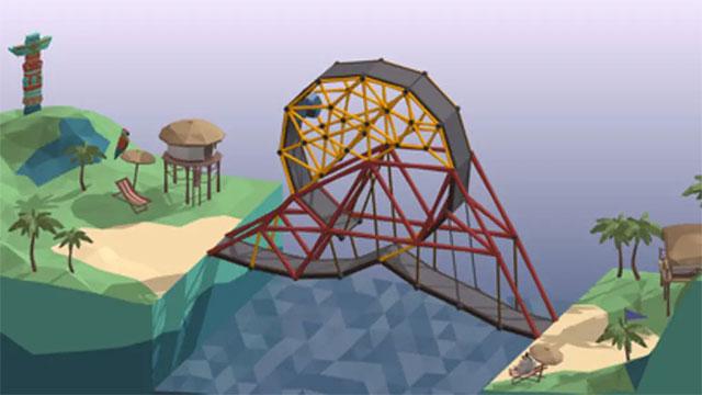 Thiết kế cây cầu hoàn chỉnh trong game xây cầu Poly Bridge cho máy tính, Mac và Linux