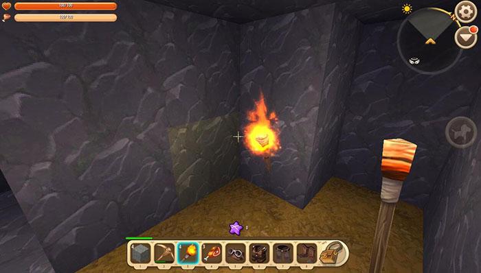 Đuốc là dụng cụ quan trọng để quái vật không tìm thầy người chơi trong hang động