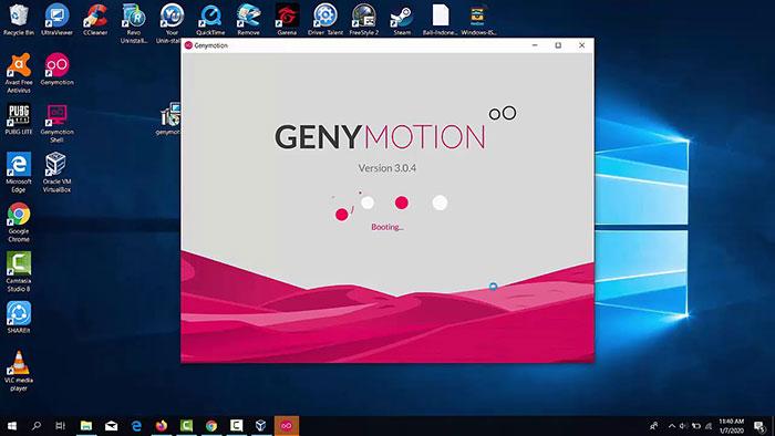 Giao diện của Genymotion trên máy tính Windows