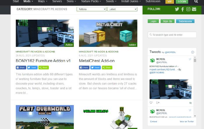 Mcpedl.com là trang web tốt nhất để tải xuống các bản mod cho Minecraft PE