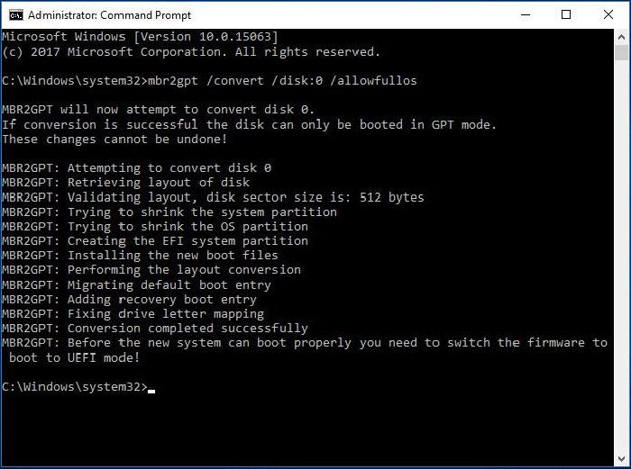 Nhập lệnh để thực hiện chuyển đổi từ MBR sang GPT trong Windows 10